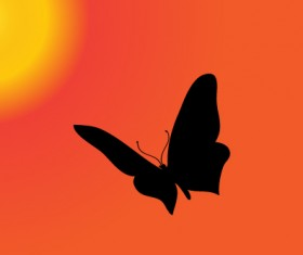 Sunset with butterfly silhouette vector material 01