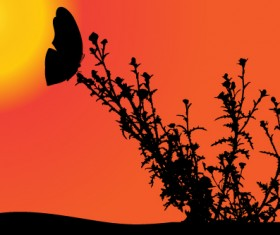 Sunset with butterfly silhouette vector material 02