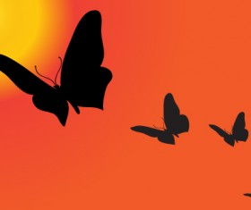 Sunset with butterfly silhouette vector material 03
