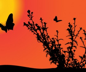 Sunset with butterfly silhouette vector material 05