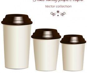 Take away paper cups vector set 01