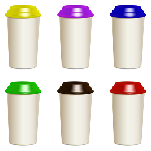 Take away paper cups vector set 02