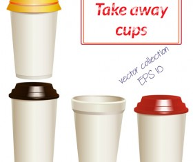 Take away paper cups vector set 03