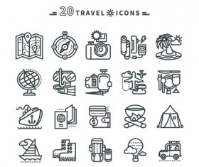Travel icons black outline vector