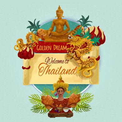 Travel thailand design background vector