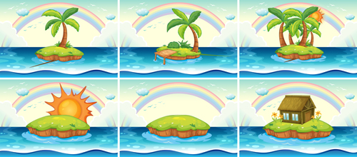 Tropical travel sea background vector 01