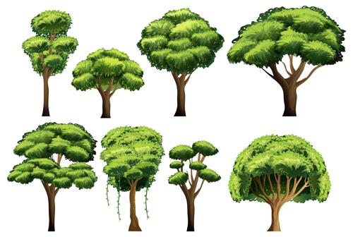 Various tree vectors material set 02 - Vector Plant free download