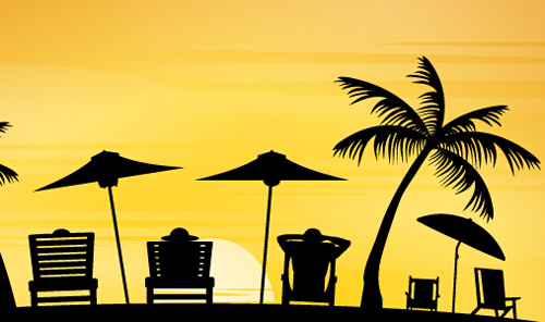 Vector Beach Sunbeds Silhouette Material 02 Free Download