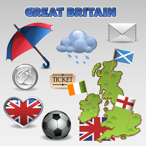 Vector great britain design elements set 04
