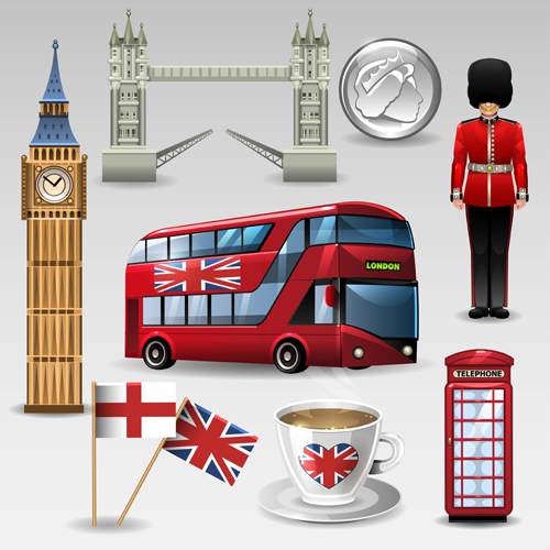 Vector great britain design elements set 05