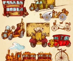 Vintage travel object elenemts vector 01