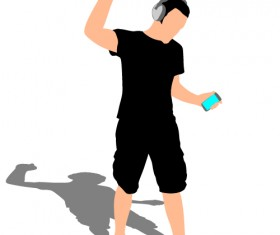 Young man with music vector illustration 02
