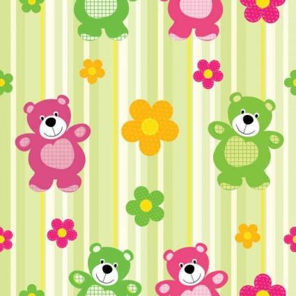cartoon flower with bear pattern vector
