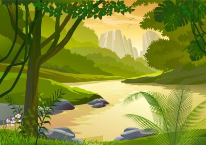 Cartoon natural landscapes beautiful vector 05