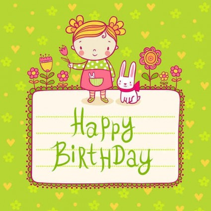 Cute kid birthday card templates vector Vector Birthday Vector – Happy Birthday Card Template Free Download