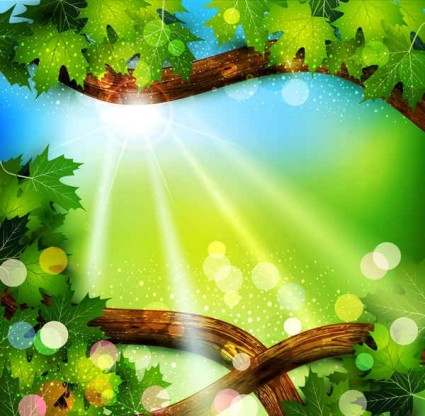 Fresh green leaves with natural background vector