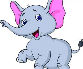lovely cartoon elephant vector material 01