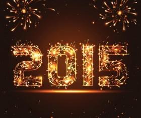 2015 Fireworks text design vector