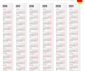 2016 2017 2018 2019 2020 2021 grid calendar design vector 01