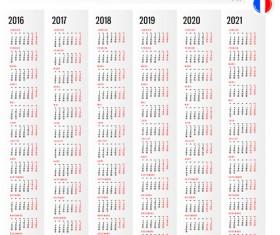 2016 2017 2018 2019 2020 2021 grid calendar design vector 02