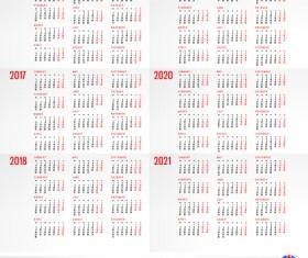 2016 2017 2018 2019 2020 2021 grid calendar design vector 05