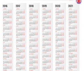 2016 2017 2018 2019 2020 2021 grid calendar design vector 06