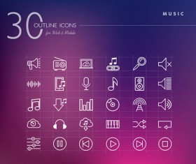 30 Kind outline music icons set