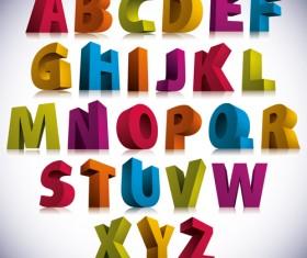 3D colorful alphabets vector design