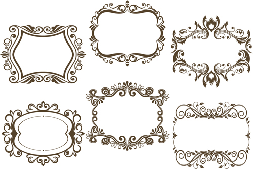 6 kind floral frame vector