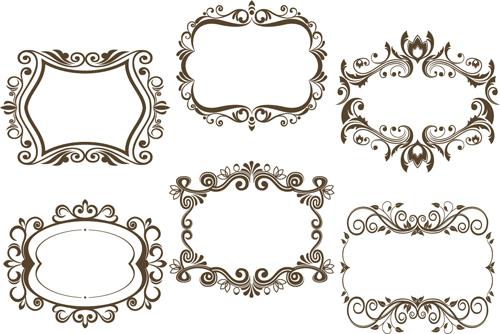 6 Kind floral frame vector free download
