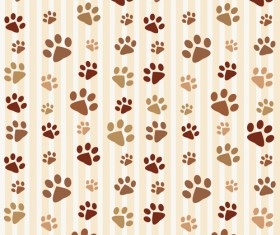 Animal footprints cute pattern vector
