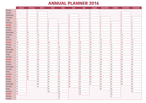 Calendar Planner Vector : Annual planner calendar vectors vector