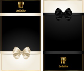Beautiful bow with VIP invitation card vector 03