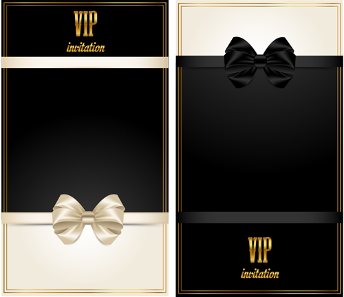 Beautiful Bow With Vip Invitation Card Vector 03 Vector