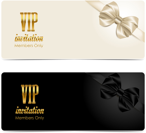 Beautiful bow with VIP invitation card vector 04 - Vector Card free ...