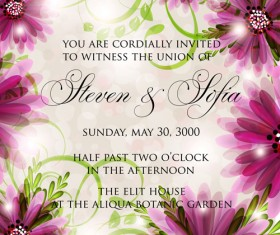 Beautiful flowers wedding Invitation Card vector set 02