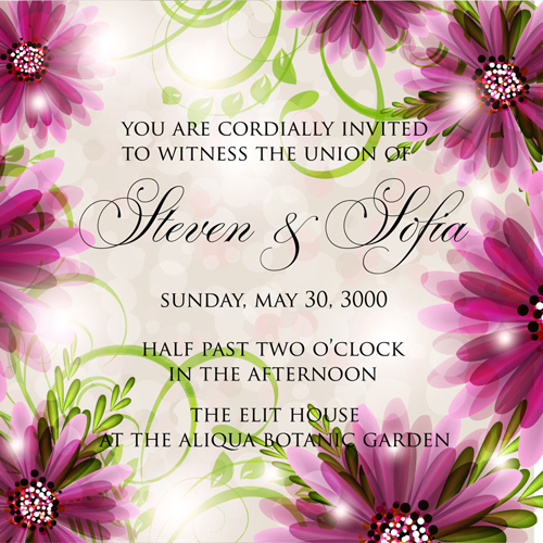 Beautiful Flowers Wedding Invitation Card Vector Set 02 Free