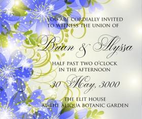 Beautiful flowers wedding Invitation Card vector set 03