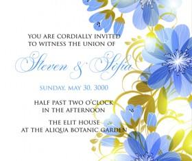 Beautiful flowers wedding Invitation Card vector set 04