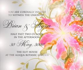 Beautiful flowers wedding Invitation Card vector set 05