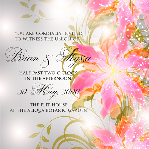 Beautiful Flowers Wedding Invitation Card Vector Set 05 Free