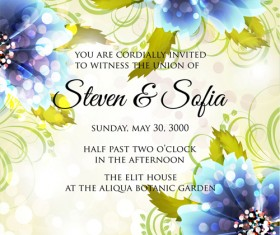 Beautiful flowers wedding Invitation Card vector set 06