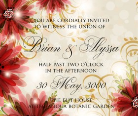Beautiful flowers wedding Invitation Card vector set 07
