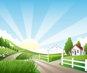 Beautiful natural scenery and sun vector 01