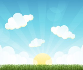 Beautiful natural scenery and sun vector 02