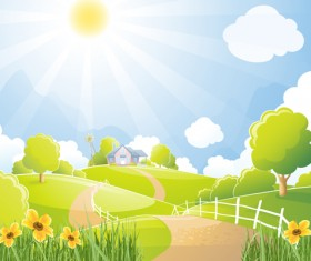Beautiful natural scenery and sun vector 03