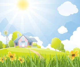 Beautiful natural scenery and sun vector 04