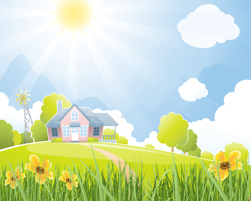 Beautiful Natural Scenery And Sun Vector  Eps