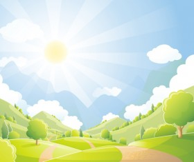 Beautiful natural scenery and sun vector 05