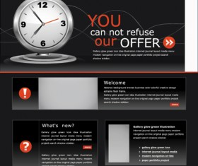 Black style clock website template vector